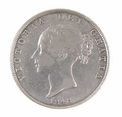1848 Great Britain Queen Victoria Young Head British Half Crown Silver Coin