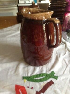 Hull Pottery Vintage Brown Drip Glaze Pitcher Oven Proof Stoneware USA