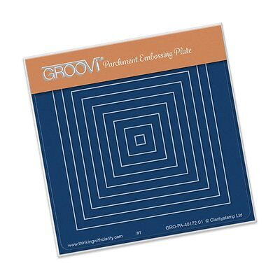 CLARITY STAMP GROOVI BABY A6 Parchment Embossing Plate NESTED SMALL SQUARES