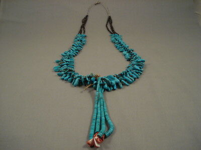 Museum Quality Vintage Navajo Turquoise And Heishi Jacla Necklace Old
