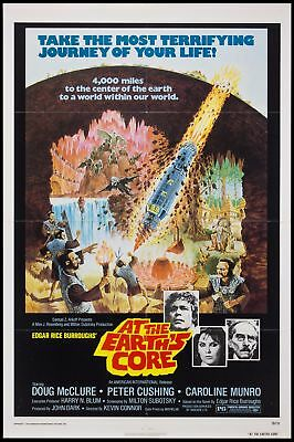 Original 1976 AT THE EARTH'S CORE 27x41 One Sheet Movie Poster Peter Cushing VF+