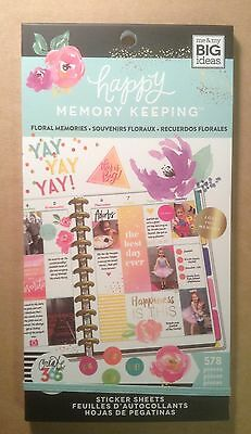 """NEW! me & my big ideas create 365 """"FLORAL MEMORIES"""" Value Pack Stickers"""