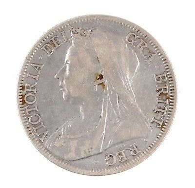 1895 Great Britain Queen Victoria Widow Head British Half Crown Silver Coin