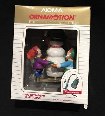 Noma Ornamotion Vintage Snowman And Kids 1989