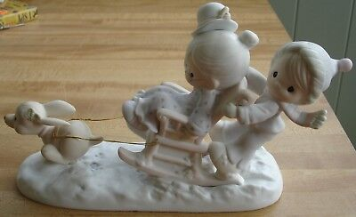 "Precious Moments Oh What Fun It is To Ride Figurine #109819 -- 6 1/2"" by 11 1/2"""