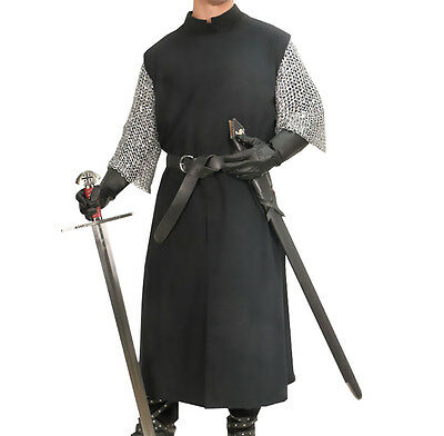 Black Tunic, Strong Cotton Twill, Knight, LARP, S/M, L/XL, Fantasy, Theater, GOT