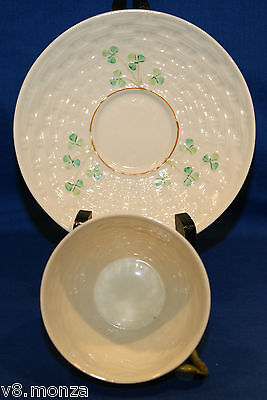 ☆ Belleek Shamrock Sixth Mark Third Green 6th/3rdGreen Teacup & Saucer Duo ☆