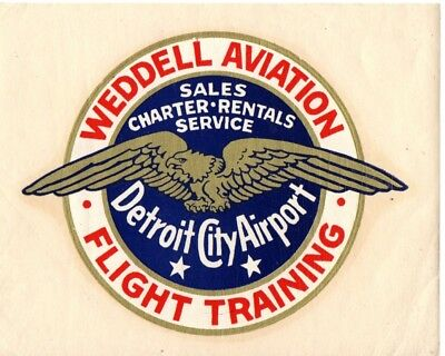Weddell Aviation  Airline  Baggage Label Sticker Detroit City Airport Mid 1930's
