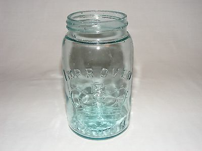 Vintage Antique Imporved Crown Aqua Blue Glass Preserve Canning Jar & Glass Lid