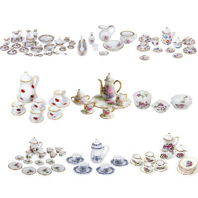 Dolls House Mini Deluxe Ceramic Porcelain Coffee Tea Set 1/12 Kitchen Tableware