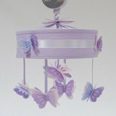 Baby Girl Crib Musical Lambs & Ivy Mobile Lavender Butterfly
