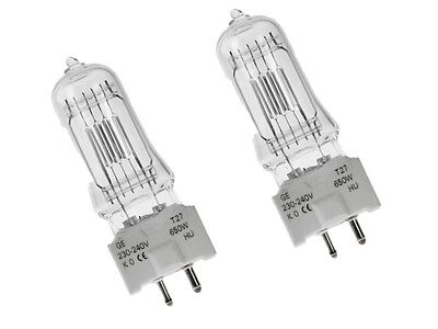 2 x T27 240V 650W G9.5 GCS GE BRAND BULB LAMP BOXED 88469 Theatre Lamps