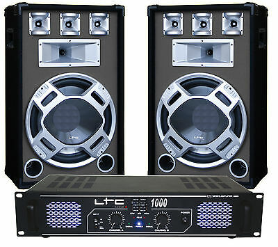 LTC Audio Disco DJ Sound Karaoke System Package inc Amplifier & Speakers 1600W