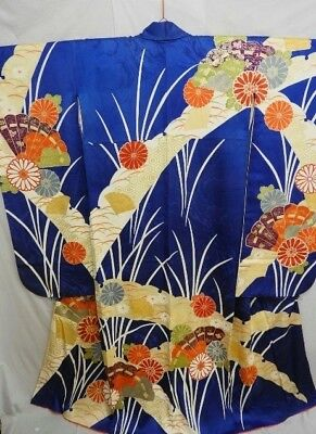 Japanese Furisode/Wedding Kimono Blue Silk Rinzu 'Fans/Floral/Butterfly' 12-16