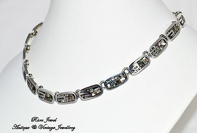 Vintage Jewellery Sterling Silver Mexican Necklace Striking Abalone Inlay Signed