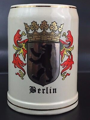 vtg Berlin Gerz Stoneware .5L Beer Stein Mug - Made in West Germany
