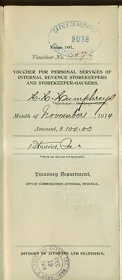 1914 Treasury Department Internal Revenue Personal Services Storekeepers Voucher