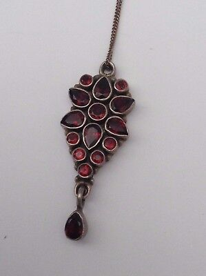 Silver Old Garnet Necklace With Dropper Fantastic Stones