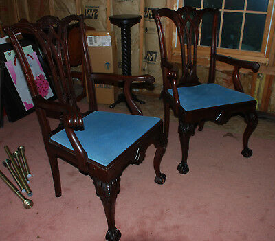 Pair Solid Mahogany Chippendale Ball And Claw, Carved Dining Room Chairs