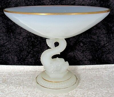 Antique Portieux Vallerysthal Lalique Type Opaline Glass Dolphin Form Compote
