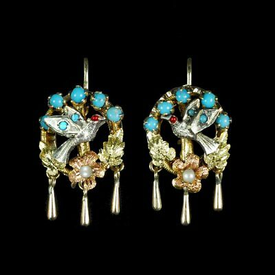 Victorian handmade antique bird, turquoise earrings, highly collectible M-F