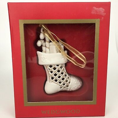 Wedgewood Christmas Stocking Ornament White Porcelain Gold Trim In Box
