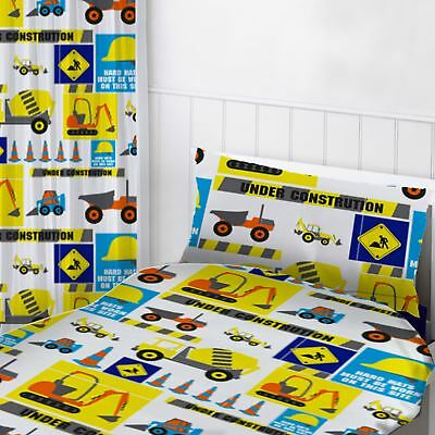"""Digger Vehicles Readymade Curtains Childrens Bedroom 72"""" Drop"""