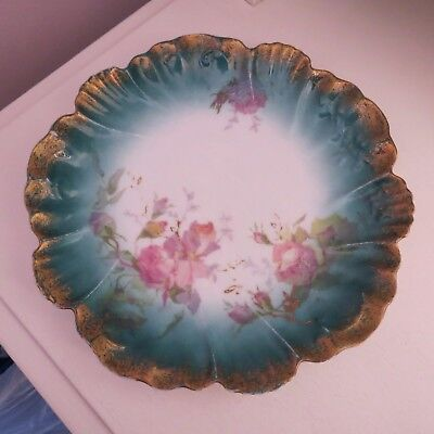 Pretty Limoges plate pink roses blush green early 20th cent A Lanternier