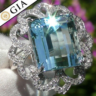 GIA 18.60ct FLAWLESS UNTREATED Aquamarine Diamond 14k WHITE Gold Cocktail Ring