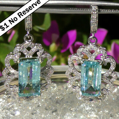 Natural 17.85ct UNTREATED Aquamarine Diamond ESTATE 14k WHITE GOLD Earrings 10gr