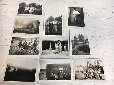 WW2 Photograph Picture Album Lot x10 Pacific Theatre Japanese US Soldiers Beach