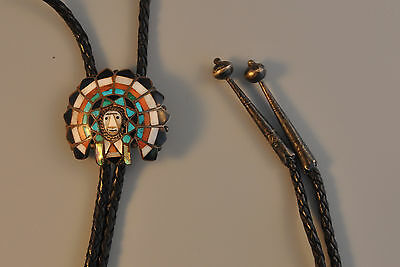 Vintage Zuni Silver Bolo Tie - Carved Mosaic Inlay Chief Headdress J & C  Lucio