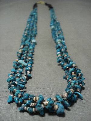 Rare! Vintage Santo Domingo/ Navajo Old Sb Beauty Turquoise Heishi Necklace