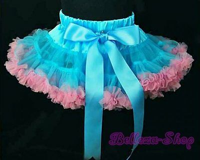 Blue Pink Ruffle Girl Pettiskirt Peticoat Tutu Pageant Party Size 2T-3T PP002A