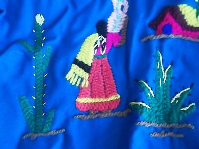 Childs Embroidered Jacket Blue Wool Made in Mexico Vintage