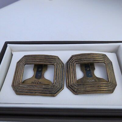 Pair of brass  vintage rectangle clip on shoe buckles
