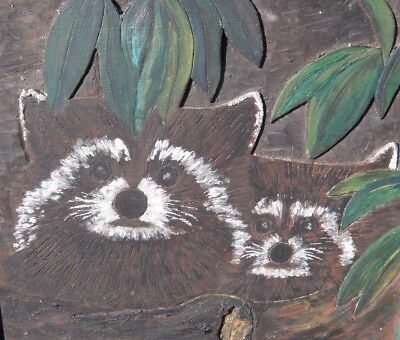 Vintage Original Painting WOODCARVING Cute RACCOON Mother & Baby Wood Carving