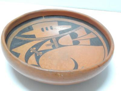 Vintage Hopi Pueblo Indian Kachina Design Pottery Plate / Bowl Pot
