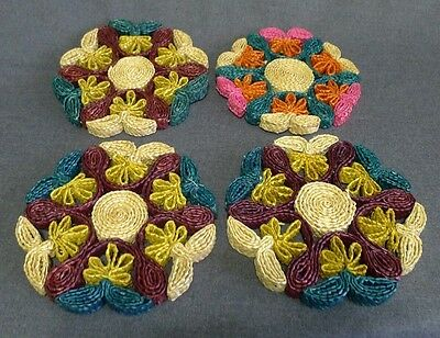 Woven Rattan Trivets Pot Holders Straw Colourful 1970s Kitchen Decor Lot of 4