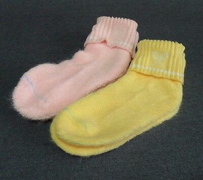Ladies Fuzzy Cuffed Tennis Socks Thick Brushed Pastel Pink Yellow 2 Pairs NOS
