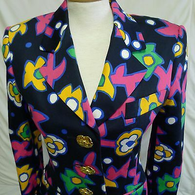 ESCADA Fitted Lined Cotton Blazer Jacket Navy Bright Floral Metal Buttons Small