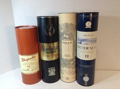 single malt, pure malt scotch whisky container tin box lot all empty