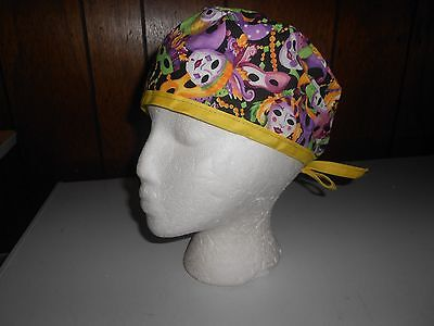 Mardi Gras With Yellow Surgical Cap/hat/do-Rag/motorcycle