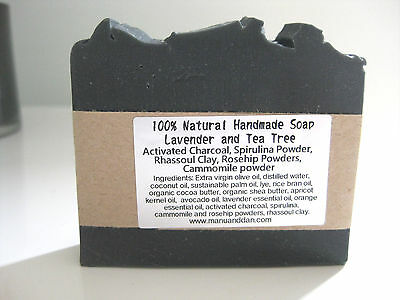 Lavender Tea Tree Activated Charcoal Natural Handmade Soap with Full Cream Milk