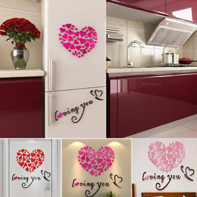 Modern DIY 3D Mirror Love Decor Quote Flower Wall Stickers Decal Home Art Decor