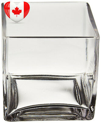 WGV Clear Square Cube Glass Vase/Votive Candle holder, 4-Inch