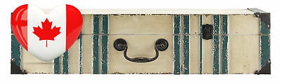 MCS 45886 Vintage Suitcase Wall Shelf in Distressed Cream Finish with Aqua...