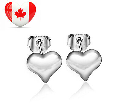 925 Sterling Silver Tiny Heart Button Earrings