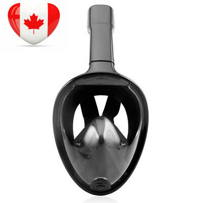 TECHMAX Snorkel Mask 180 Degree Ocean View for Adult & Youth Black L/XL