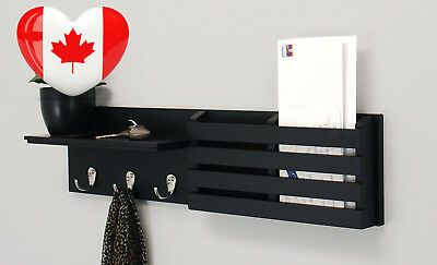 nexxt Sydney Wall Shelf and Mail Holder with 3 Hooks, 24-Inch by 6-Inch, Black